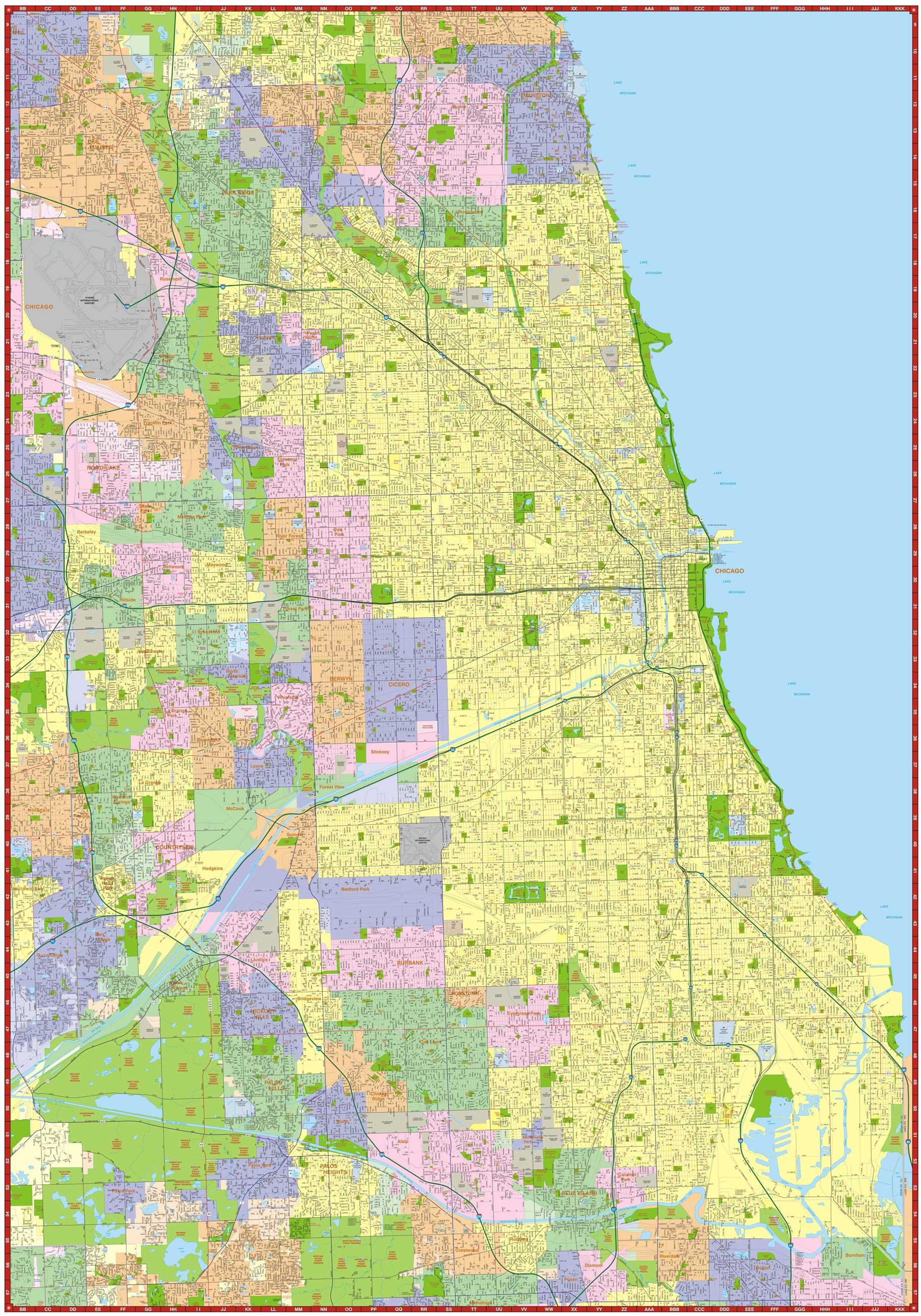 Milwaukee Map Service Illinois Wall Maps